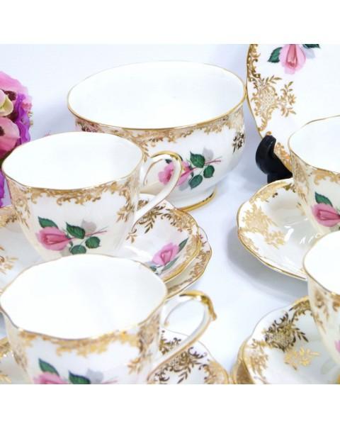 (OUT OF STOCK) ROYAL STANDARD GOLD FLORAL TEA SET